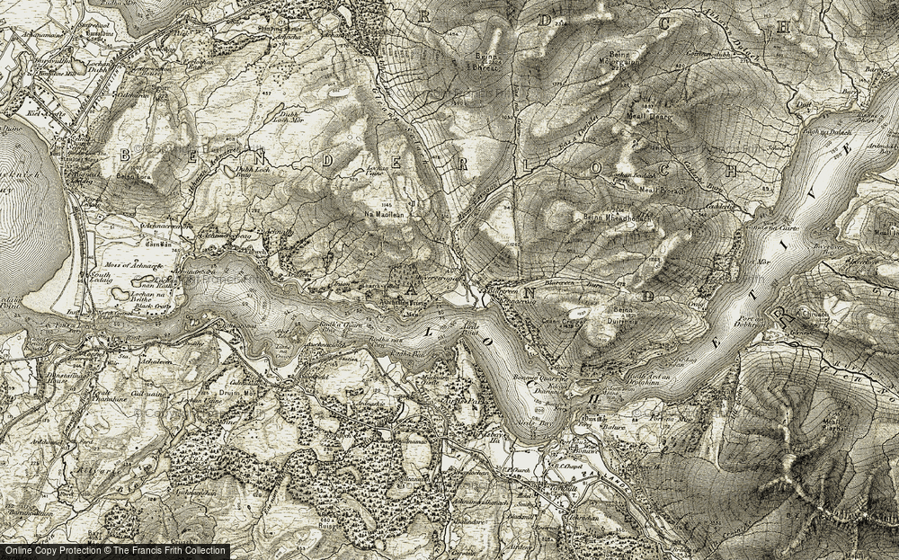 Old Map of Historic Map covering Achnacloich in 1906-1908