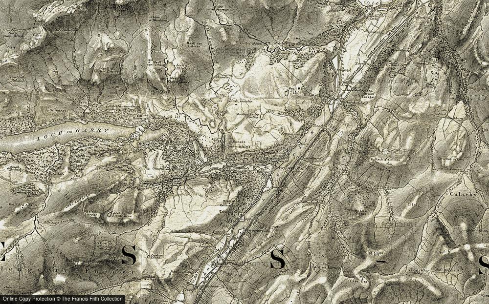 Old Map of Historic Map covering Aldernaig Burn in 1908