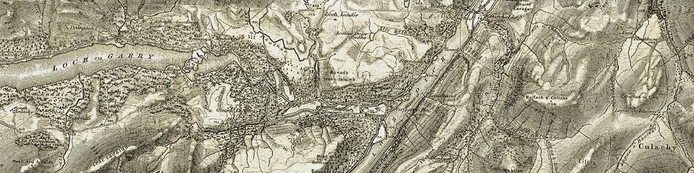 Old map of Aldernaig Burn in 1908