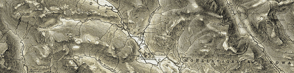 Old map of Wester Top in 1906-1907
