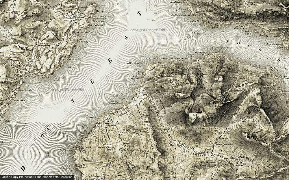 Old Map of Historic Map covering Allt a' Choire Sheilach in 1908