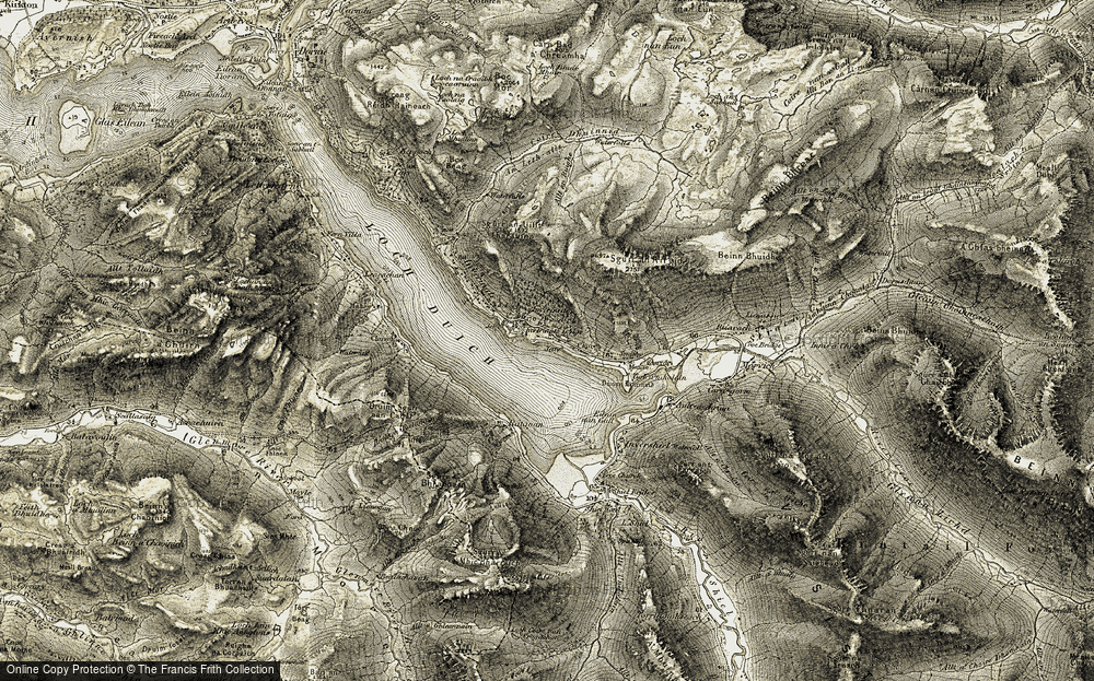 Old Map of Historic Map covering Allt an Ruighe in 1908-1909
