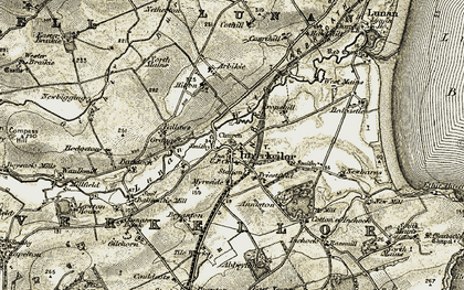 Old map of Abbeythune in 1907-1908