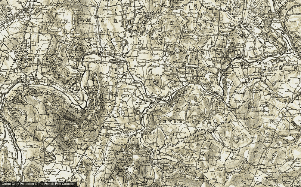 Old Map of Historic Map covering Auchininna in 1910
