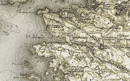 Old map of Loch Kirkaig in 1909-1910