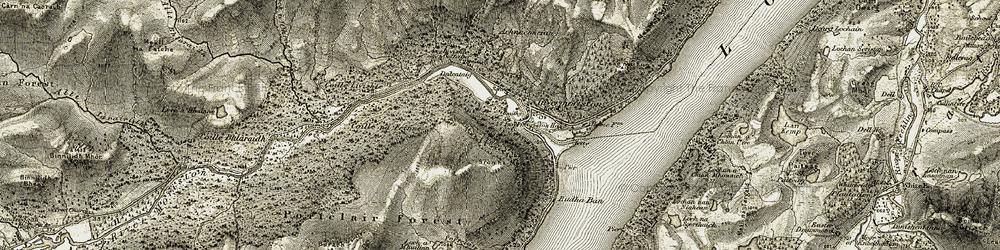 Old map of Achnaconeran in 1908-1912