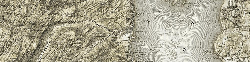 Old map of Allt nan Nathair in 1905-1907