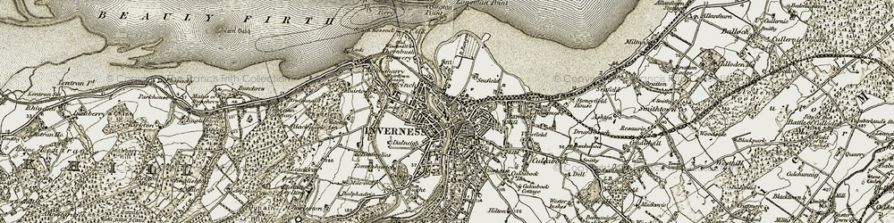 Old map of Inverness in 1908-1912