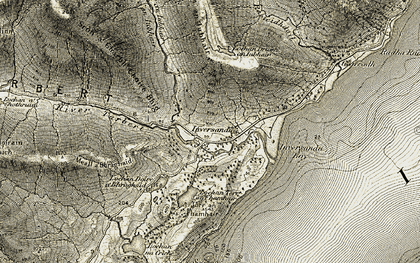 Old map of Allt Coire Mheall Challuim in 1906-1908