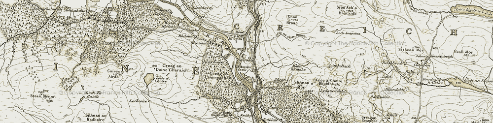 Old map of Allt na Ciste Duibhe in 1910-1912