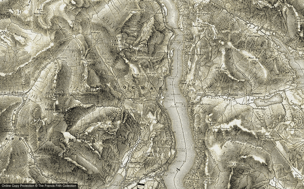 Old Map of Historic Map covering Tom na h-Innse in 1906-1907
