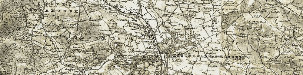 Old map of Inverurie in 1909-1910