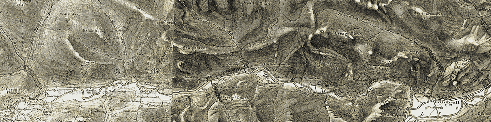 Old map of Allt Coire à Chearcaill in 1906-1908