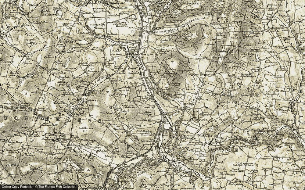 Old Map of Historic Map covering Backhill of Gourdas in 1909-1910