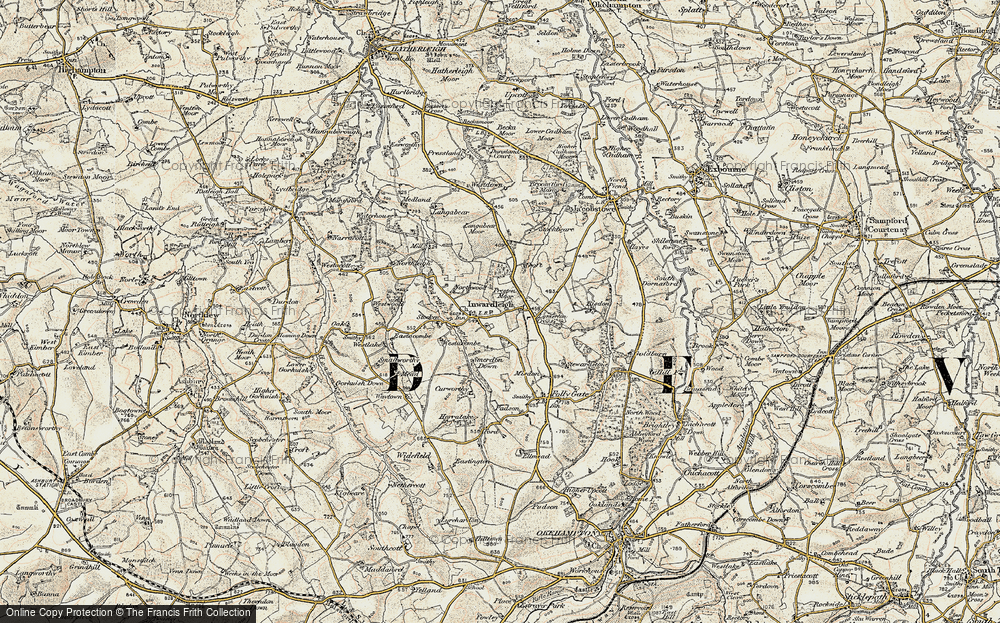 Old Map of Inwardleigh, 1899-1900 in 1899-1900