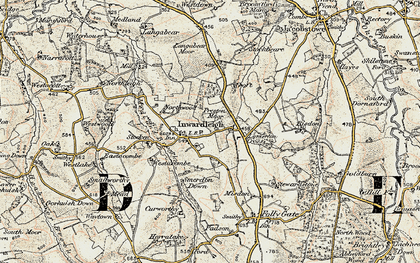Old map of Langabeare Barton in 1899-1900