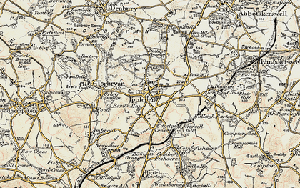 Old map of Ipplepen in 1899
