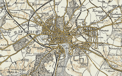 Old map of Ipswich in 1898-1901