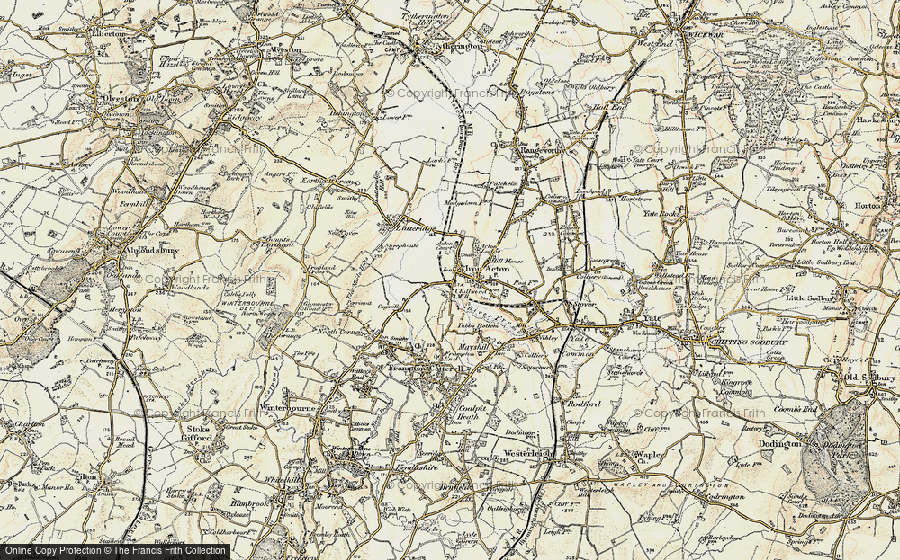 Old Map of Historic Map covering Algars Manor in 1899