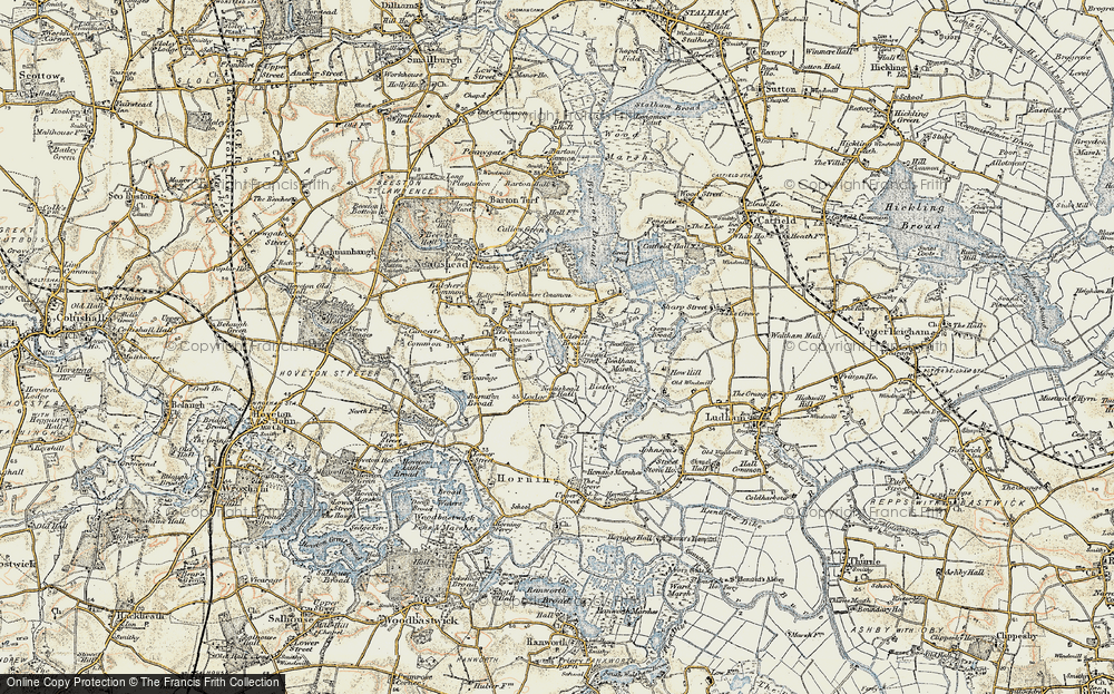 Old Map of Historic Map covering Alderfen Broad in 1901-1902