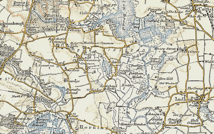 Old map of Alderfen Broad in 1901-1902