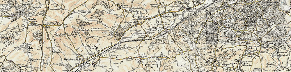 Old map of Isington in 1897-1909