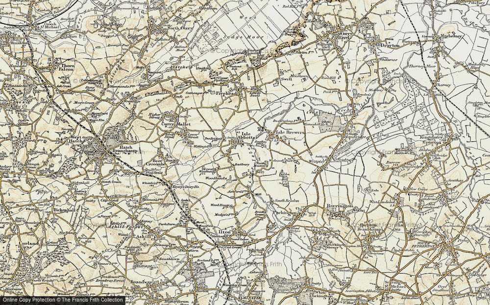 Old Map of Historic Map covering Badbury in 1898-1900