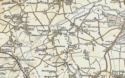 Old map of Badbury in 1898-1900