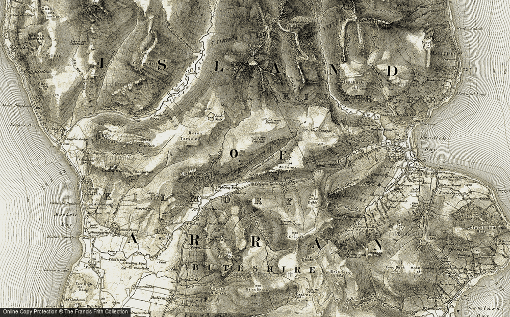 Old Map of Historic Map covering Allt nan Calaman in 1905-1906