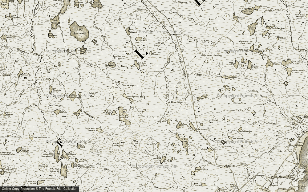 Old Map of Historic Map covering Barcasdail in 1909-1911