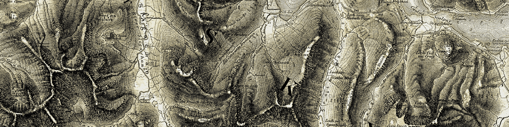 Old map of Allt nam Fraoch-choire in 1906-1909