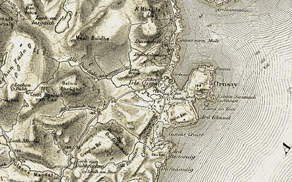 Old map of Isleornsay in 1908