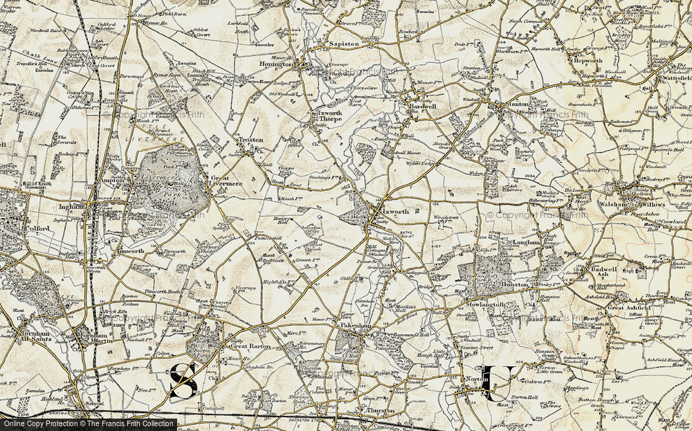 Old Map of Ixworth, 1901 in 1901