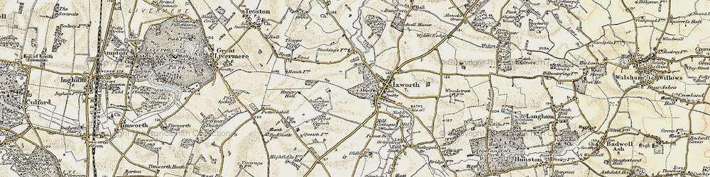 Old map of Ixworth in 1901
