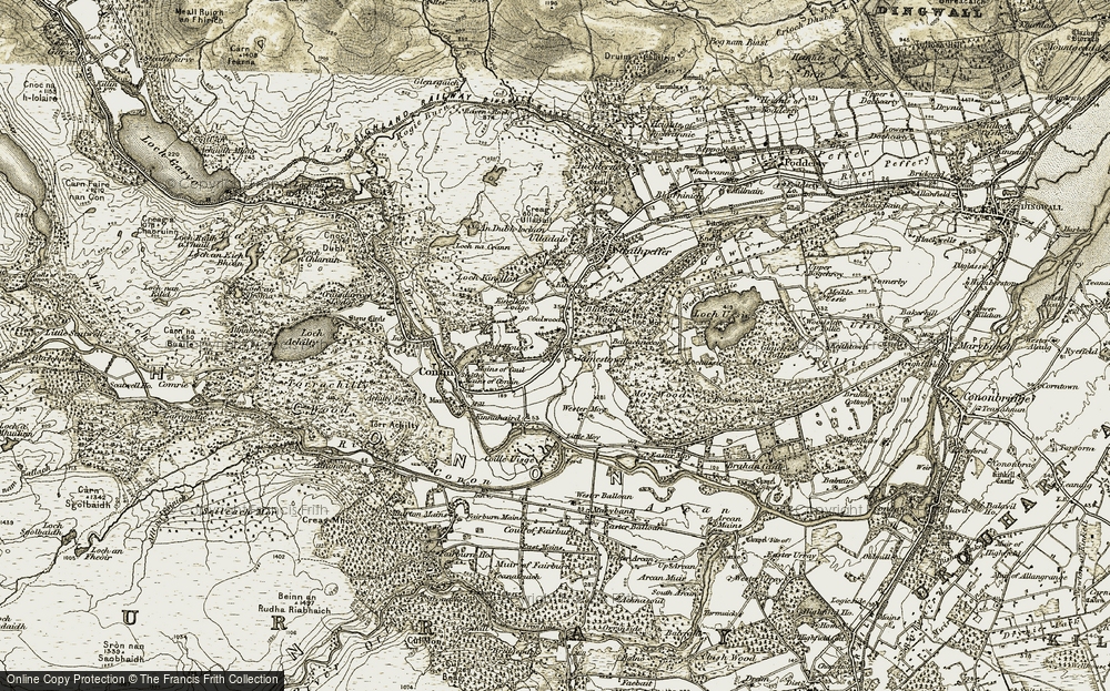 Old Map of Historic Map covering Ballachnecore in 1908-1912