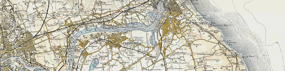 Old map of Jarrow in 1901-1904