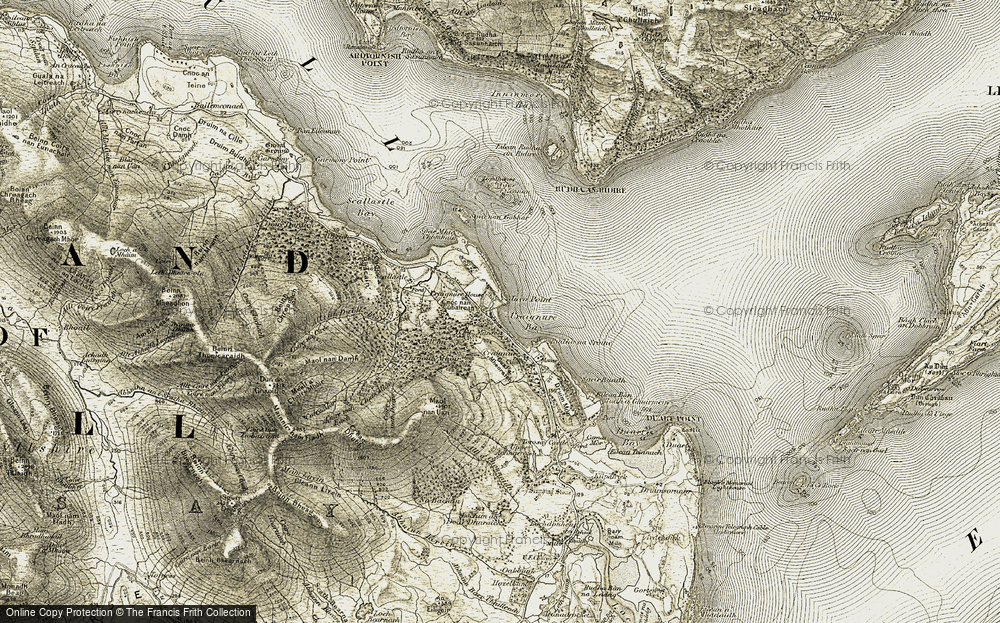 Old Map of Historic Map covering Allt an Dubh-choire in 1906-1908
