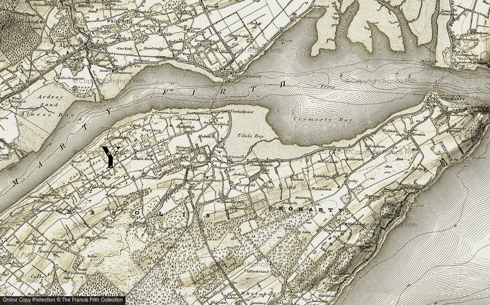 Old Map of Historic Map covering Ballicherry in 1911-1912