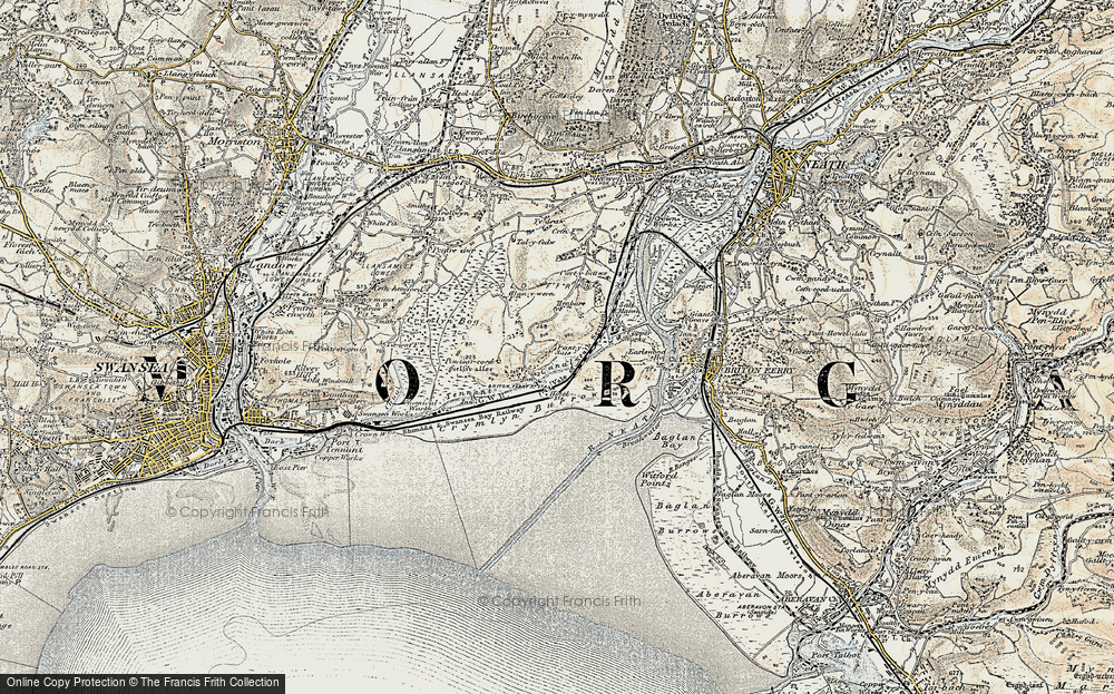 Old Map of Historic Map covering Baglan Bay in 1900-1901