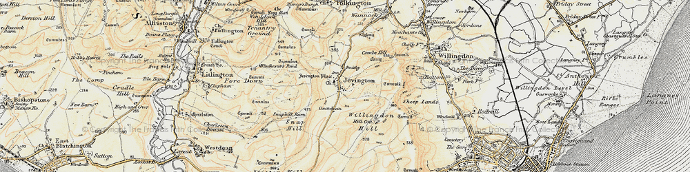 Old map of Willingdon Hill in 1898