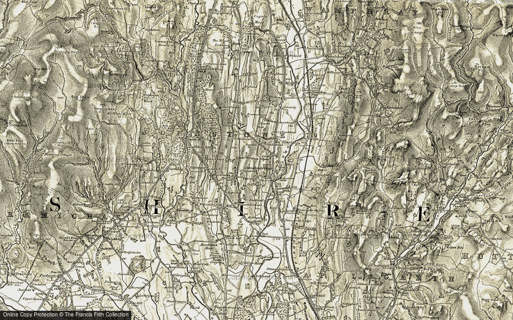 Old Map of Historic Map covering Tippet's Belt in 1901-1904