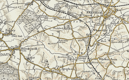 Old map of Whitwell Hall in 1901-1902