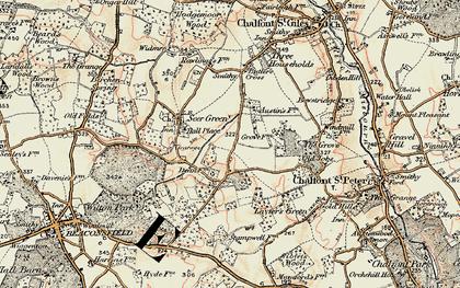 Old map of Jordans in 1897-1898