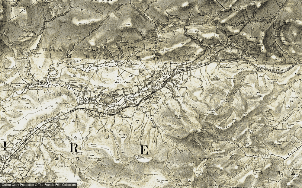 Old Map of Historic Map covering Auldhouse Burn in 1904-1905
