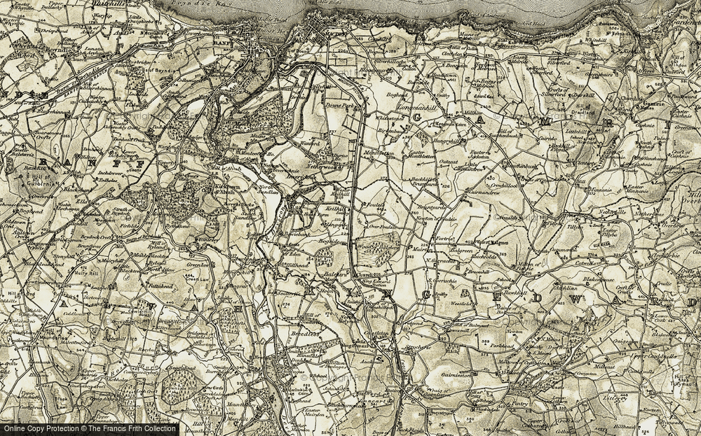 Old Map of Historic Map covering Wood of Balchers in 1909-1910