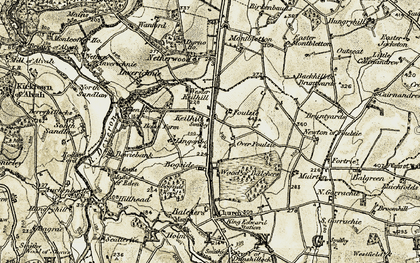 Old map of Wester Keilhill in 1909-1910