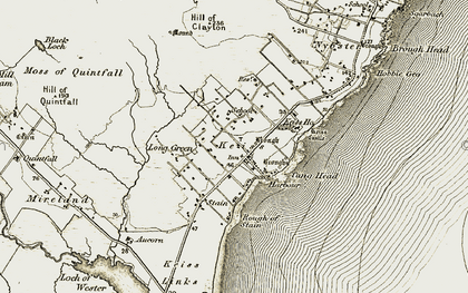 Old map of Keiss in 1911-1912