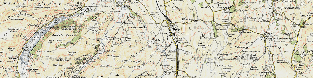 Old map of Wet Sleddale Reservoir in 1901-1904