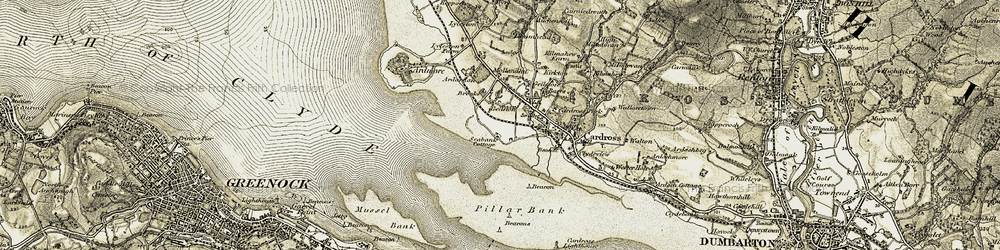 Old map of Ardardan in 1905-1907