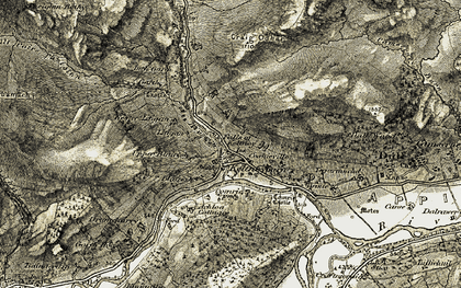 Old map of Keltneyburn in 1906-1908
